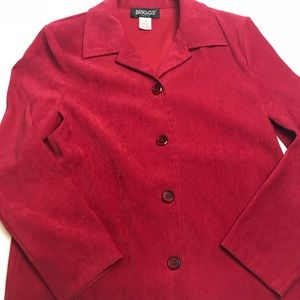 Petite Red crop jacket button front long sleeve